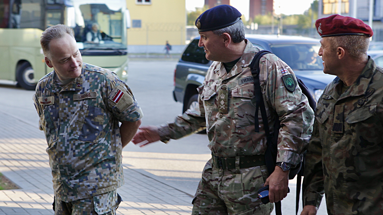 General Sir James Everard, Deputy Supreme Allied Commander Europe, Supreme Headquarters Allied Powers Europe, is greeted by Major General Adam Joks, JFTC Commander and Brigadier General Imants Ziedins, Chief of Staff Latvian Armed Forces Joint HQ